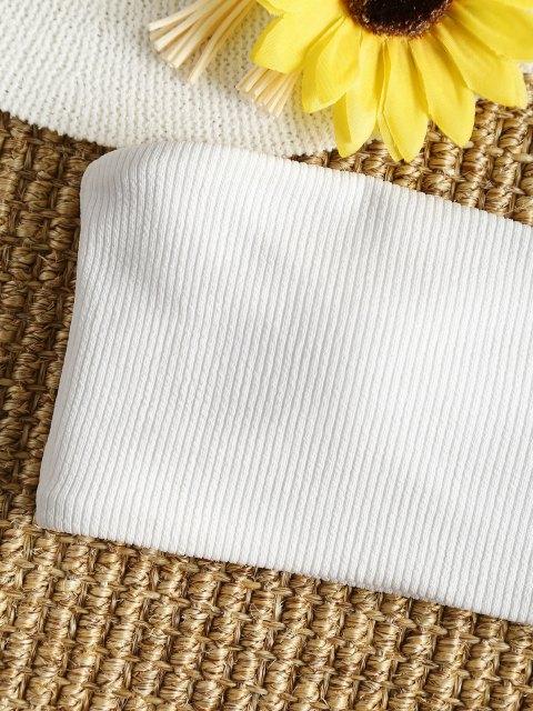 buy Ribbed Striped Thong Bikini Set - ORANGE + WHITE S Mobile