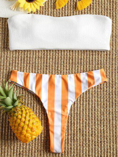 Ribbed Striped Thong Bikini Set - Orange + White L