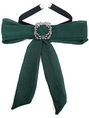 Chiffon Bowknot Rhinestone Choker Necklace - Green