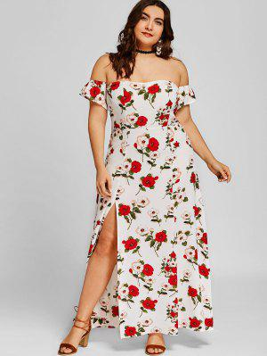 Off Shoulder Plus Size High Slit Maxi Dress - White 2xl