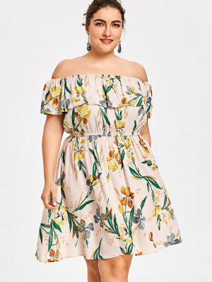 Plus Size Hawaiian Floral Off La robe d'épaule