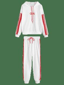 Blanco Trim Letter Set Ribbons L And Pants Sports Hoodie W7Swn0dwq