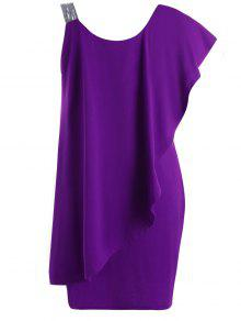 فستان الحجم الكبير كشكش بكتف واحد - أرجواني 3xl