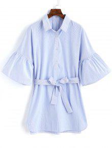 De Claro Rayas Medio Vestido Abotonado M Azul Mini 5wq6EgYxAR
