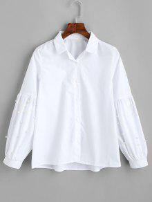 فانوس الأكمام فو اللؤلؤ قميص - أبيض M