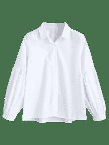 Imitaci L Manga De De Camisa De Linterna 243;n De Perlas Blanco x6qC4w7
