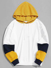 ملابس رجالي بغطاء للرأس على شكل مربعات ملونة - الأصفر S