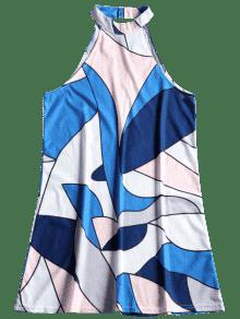 Con 233;trico Azul Mini Xl Mangas Geom Vestido Estampado Sin qW0SYSxz4t