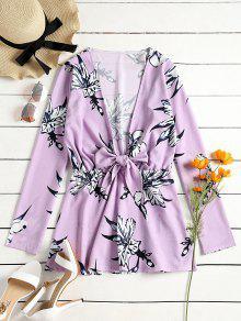 فستان مصغر غارق طباعة الأزهار - ضوء ارجواني L