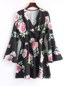 فستان مصغر توهج الأكمام طباعة الأزهار - أسود L