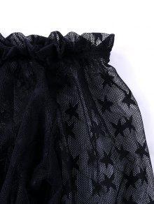 Hombros Descubiertos Y Descubiertos Corta Xl Hombros Blusa Con Negro Sheer Shoulder De gwtOqSX