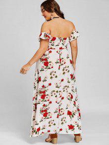 940a7d06c165 37% OFF  2019 Off Shoulder Plus Size High Slit Maxi Dress In WHITE ...