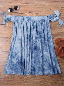Te Azul L Vestido Mini Anudado Hombro ido De Sx1qfO