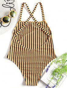 غير المبطنة مخطط قطعة واحدة ملابس السباحة - الأصفر S
