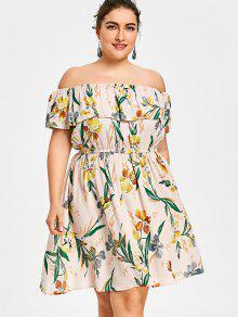 فستان مكشوف الكتفين مزين بطبعة أزهار ذو مقاس كبير - Xl