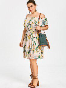Floral Vestido Hawaiano Xl Con Descubiertos Hombros Extragrande 8wpqOw5