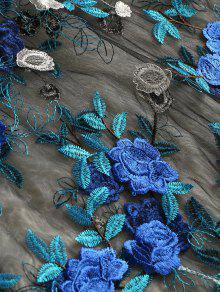 Floral Azul Blusa M Estampado Bordada Con 1wFxPq0C