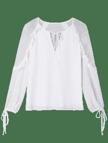 Volantes Encaje De De Blanco Lazo Xl Ojo La Blusa Corbata Cerradura Con txRtwp