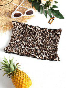 Leopard Mangas Estampado Leopardo Smocked De Top Patr Sin 243;n wFE1A