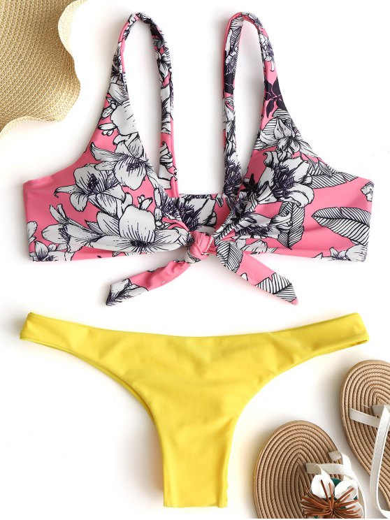 unique Floral Knot Scrunch Butt Bikini Set - PAPAYA M