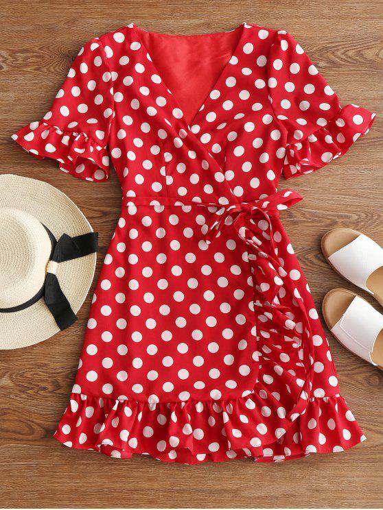 best V Neck Polka Dot Ruffle Hem Dress - RED L
