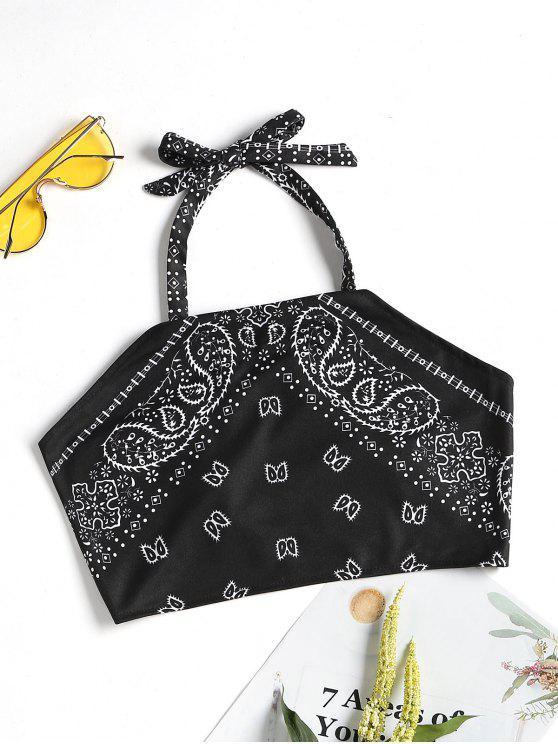 chic Printed Halter Neck Crop Top - BLACK S