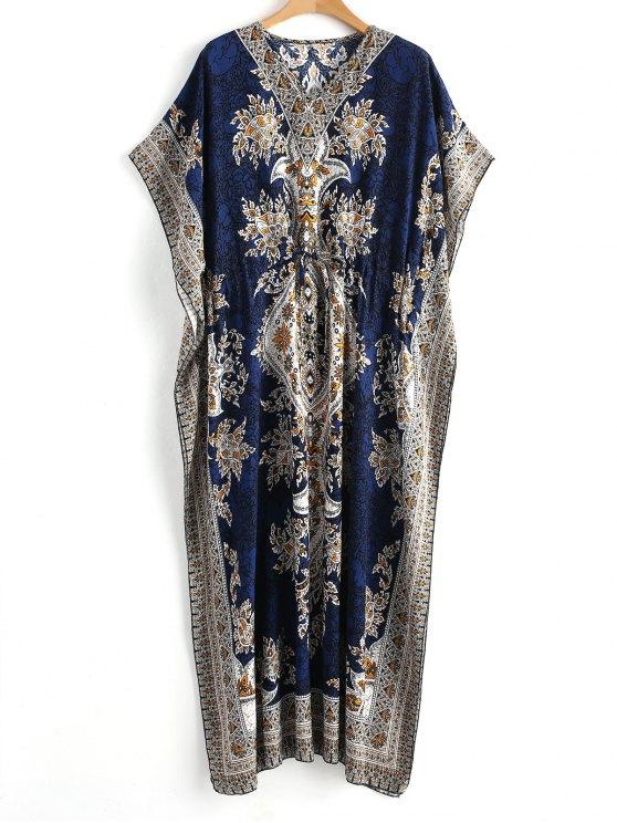 women's Drawstring Kaftan Bohemian Maxi Dress - BLUE L