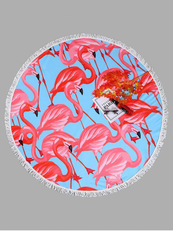 منشفة للشاطئ دائرية الشكل بطبعة طائر الفلامينغو - الضوء الأزرق حجم واحد