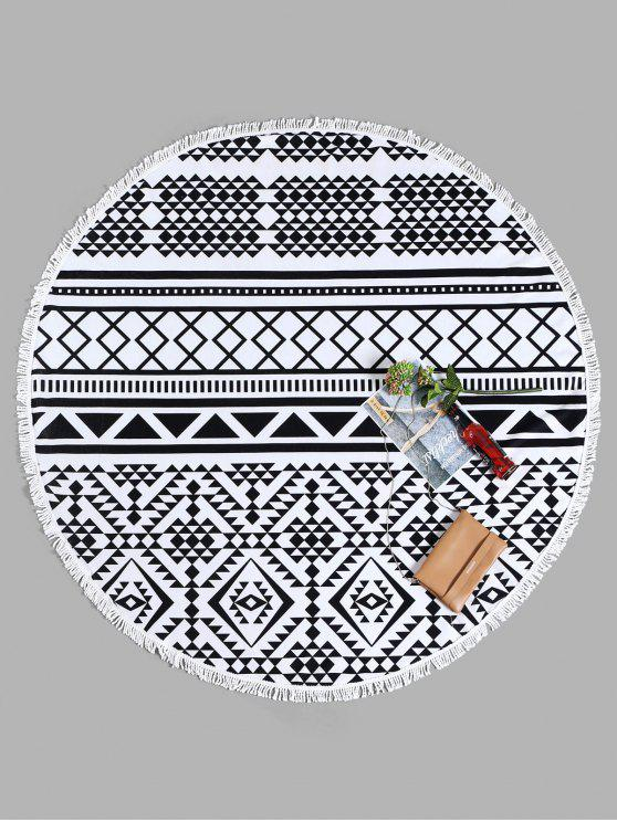 sale Tassel Geometrical Round Beach Towel - WHITE AND BLACK ONE SIZE