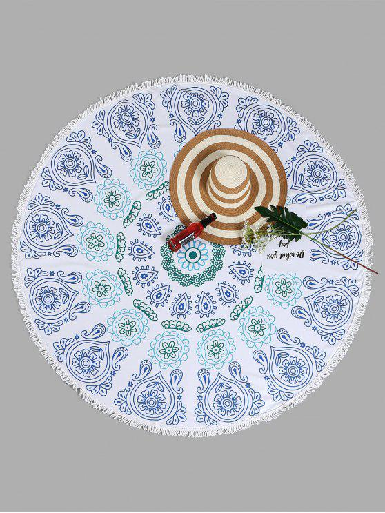 women Mandala Tassel Round Beach Towel - WHITE ONE SIZE