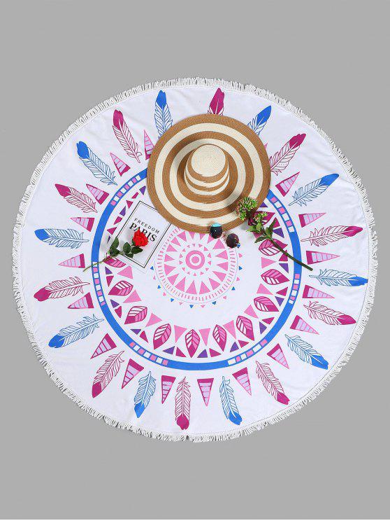 منشفة للشاطئ دائرية الشكل بطبعة أوراق الأشجار مزينة بشراشيب - أبيض حجم واحد