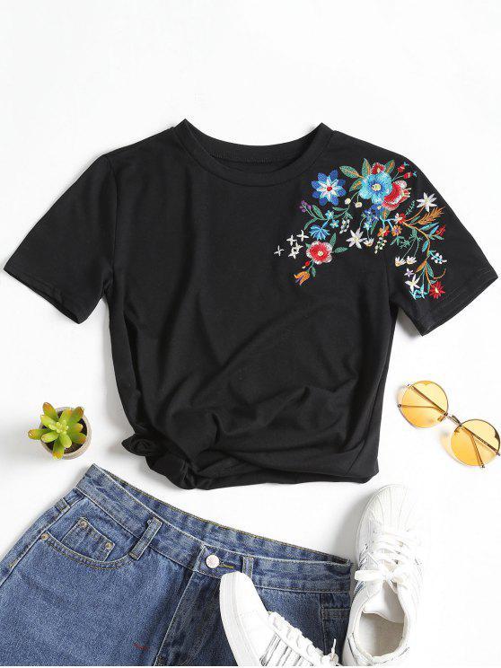 Camiseta con cuello redondo y parche floral - Negro L