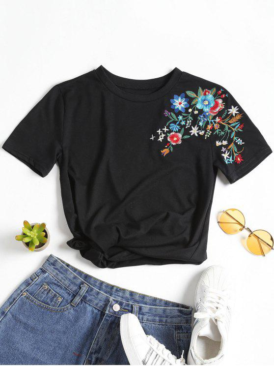 women Floral Patched Round Collar Tee - BLACK S