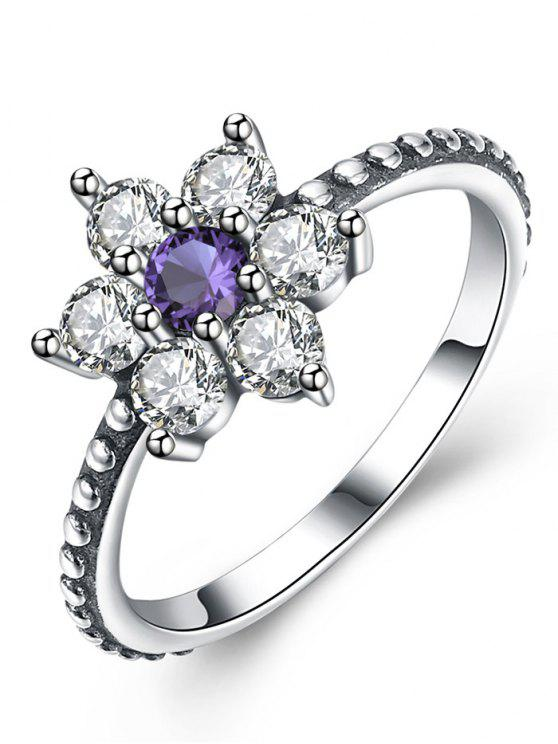 womens Artificial Amethyst Sterling Silver Floral Ring - SILVER 9