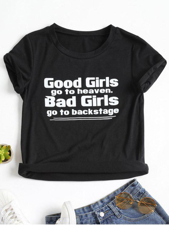 best Letter Print Cuff Sleeve T Shirt - BLACK XL