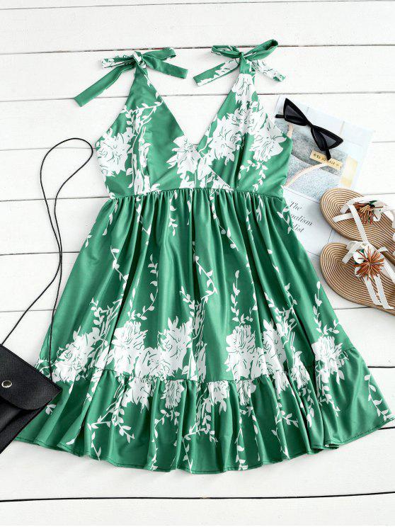 women's Open Back High Waist Floral Mini Dress - LIGHT GREEN S