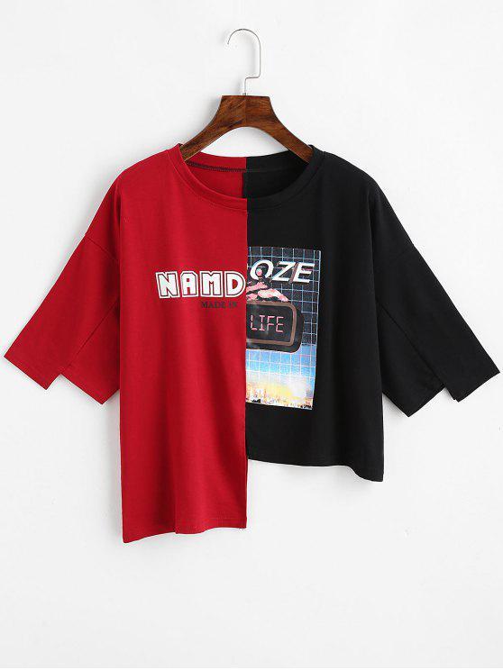 Camiseta asimétrica con contraste estampado de letras - NEGRO&ROJO Única Talla