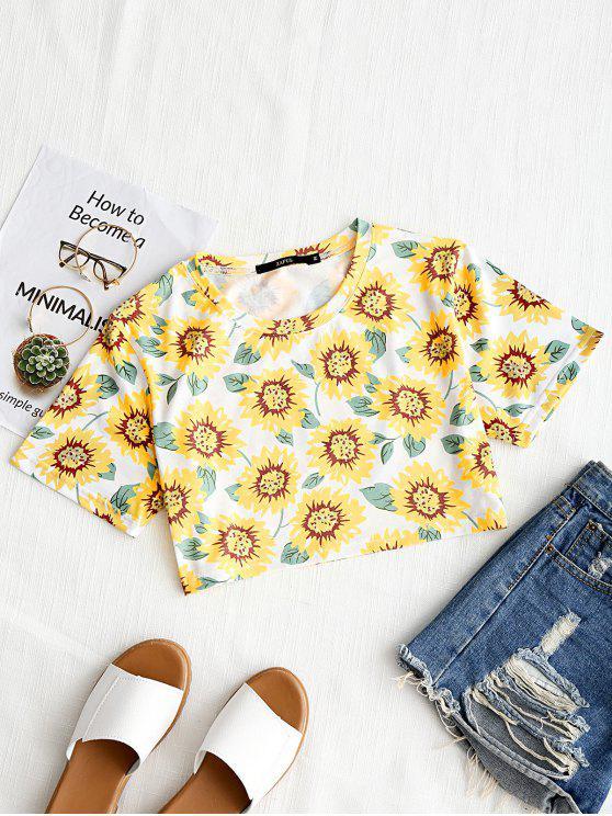 T-shirt redondo da colheita da cópia do girassol do pescoço - Brancp e Amarelo L