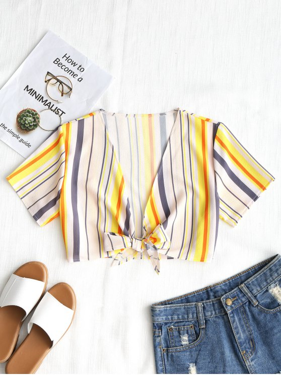 affordable Cropped Tied Striped Top - YELLOW S