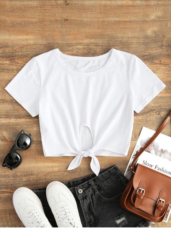 Top corto con lazo de algodón - Blanco S