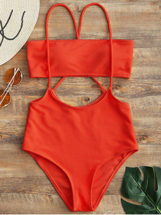 Top A Fascia E Bikini Bottoms A Fessura A Vita Alta - Rosso L