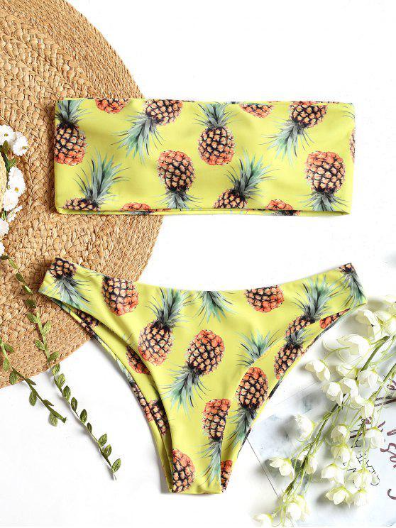 new Bralette Pineapple Print Bandeau Bikini Set - FLUORESCENT YELLOW M