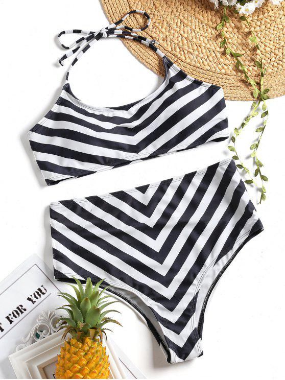 women Halter High Waisted Zig Zag Bikini Set - WHITE AND BLACK M