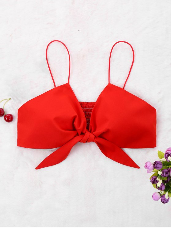 outfit Back Shirred Bow Crop Tank Top - RED S