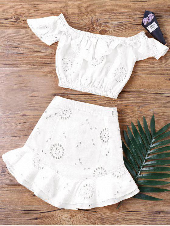 Conjunto de duas peças da saia de ombro para ombro - Branco XL