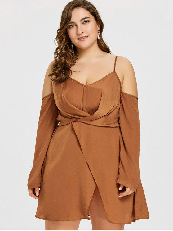 Plus Size Long Sleeve Overlap Dress LIGHT BROWN