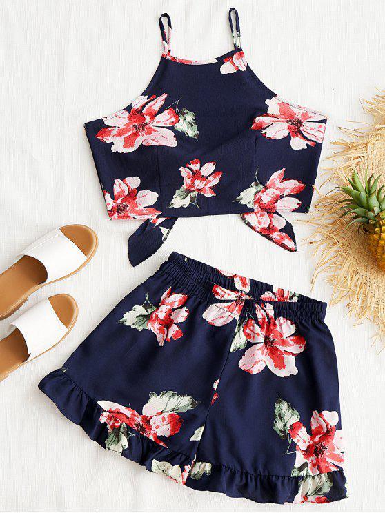 hot Floral Cami Crop Top with Shorts Set - PURPLISH BLUE M
