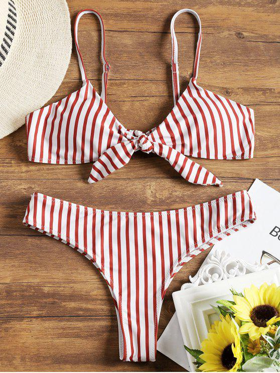 unique Padded Front Knotted Striped Bikini Set - RED WITH WHITE L