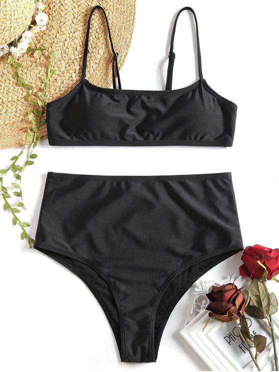 unique Cami Padded High Waisted Bikini Set - BLACK S