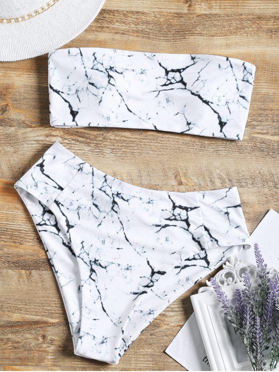 women's Marble Print High Waisted Bandeau Bikini Set - WHITE M